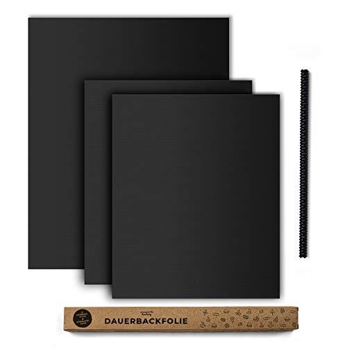 tastory® 3er Set I Schwarze Dauerbackfolie für Backofen inkl. Hitzeschutzleiste I (40x33cm &...
