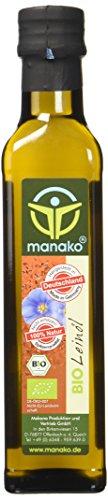 manako BIO Leinöl human, kaltgepresst, 100% rein, 2 x 250 ml Glasflaschen (2 x 0,25 l)