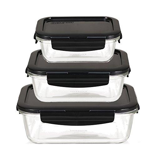 LOCK & LOCK Frischhaltedosen aus Glas mit Deckel, 3er Set eckig & klein- OVEN GLASS - Kühlschrank &...