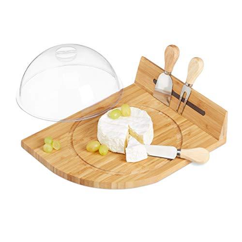 Relaxdays, Natur Käseglocke mit Bambus Käsebrett, Parmesanbrecher, Käsemesser, Käsegabel,...
