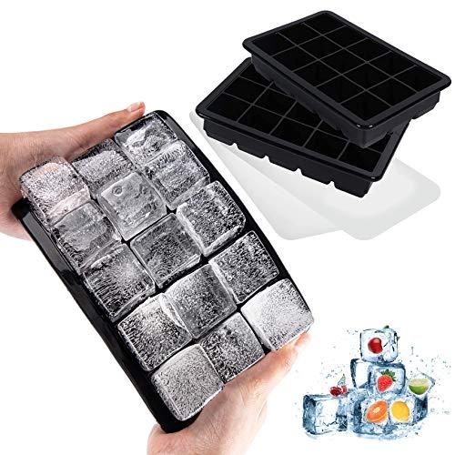 LessMo 15-Fach Eiswürfelform, 2er Pack große Silikon Eiswürfelbehälter mit Deckel, Platzsparend...